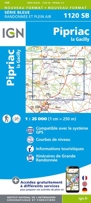 Carte IGN : 1120SB - Pipriac - La gacilly