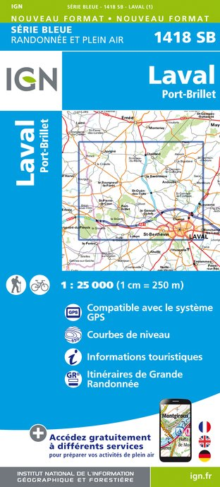 Carte IGN : 1418SB - Laval - Port-brillet