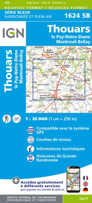 Carte IGN : 1624SB - Thouars / Le Puy-Notre-Dame / Montreuil-Bellay