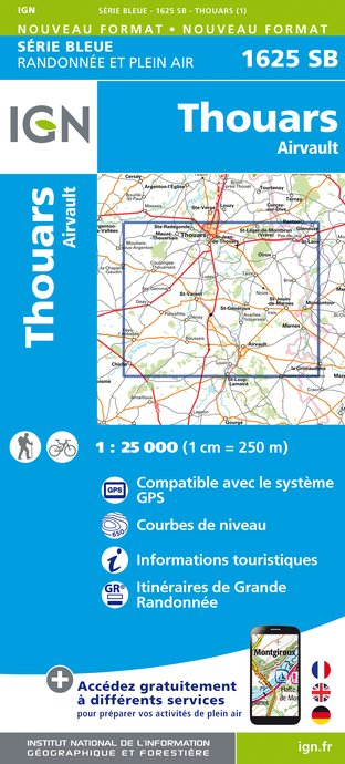 Carte IGN : 1625SB - Thouars / Airvault