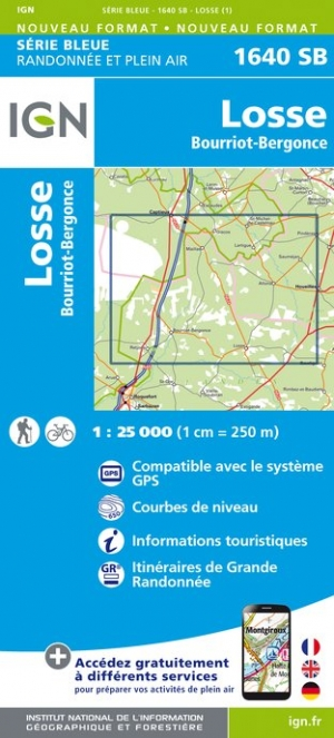 Carte IGN : 1640SB - Losse / Bourriot-Bergonce