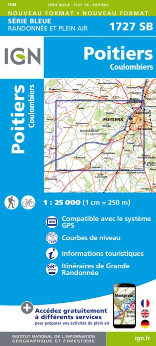 Carte IGN : 1727SB - Poitiers - Coulombiers