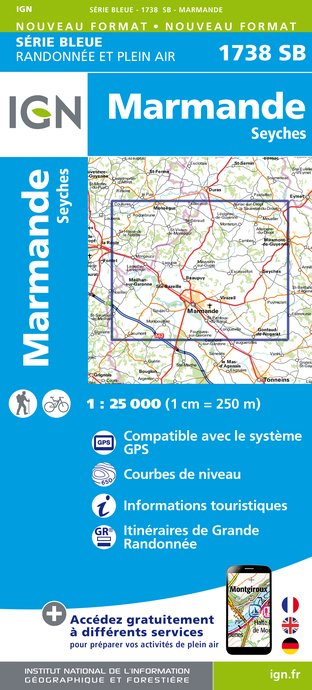 Carte IGN : 1738SB - Marmande - Seyches