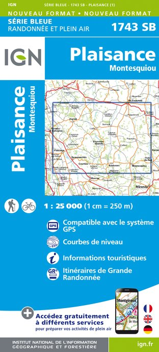 Carte IGN : 1743SB - Plaisance - Montesquiou