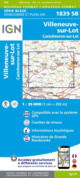 Carte IGN : 1839SB - Villeneuve-sur-Lot - Castelmoron-sur-Lot