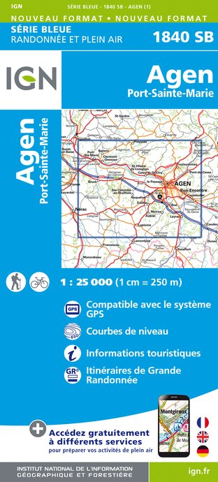 Carte IGN : 1840SB - Agen / Port-Sainte-Marie