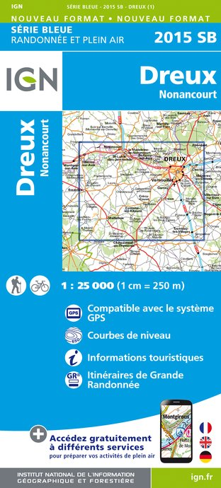 Carte IGN : 2015SB - Dreux - Nonancourt