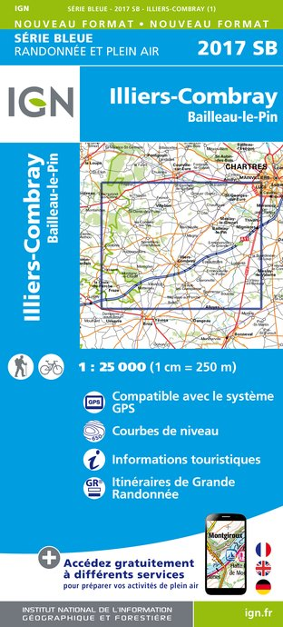 Carte IGN : 2017SB - Illiers-Combray - Bailleau-Le-Pin