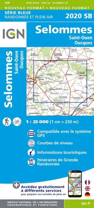 Carte IGN : 2020SB - Selommes - Saint-Ouen - Oucques