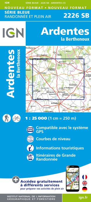 Carte IGN : 2226SB - Ardentes - La Berthenoux