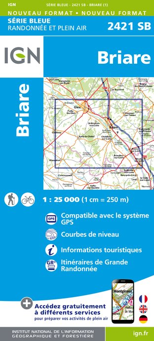 Carte IGN : 2421SB - Briare - Gien
