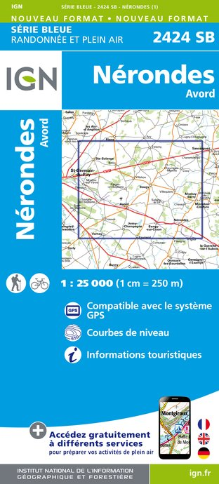 Carte IGN : 2424SB - Nérondes - Avord