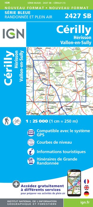 Carte IGN : 2427SB - Cérilly / Hérisson / Vallon-en-Sully