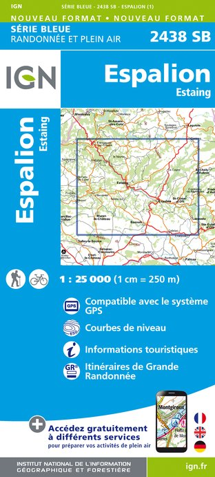 Carte IGN : 2438SB - Espalion - Estaing