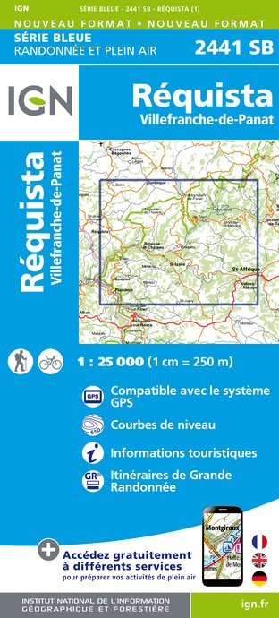 Carte IGN : 2441SB - Requista - Villefranche-de-Panat