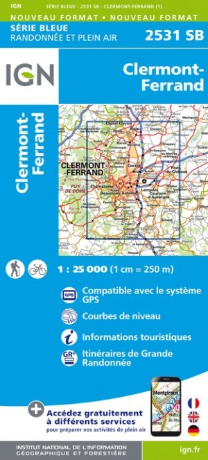 Carte IGN : 2531SB - Clermont-Ferrand