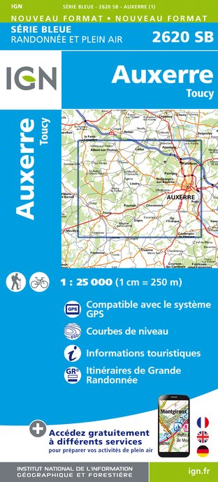 Carte IGN : 2620SB - Auxerre - Toucy