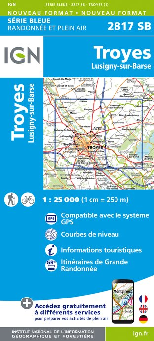 Carte IGN : 2817SB - Troyes - Lusigny-sur-Barse