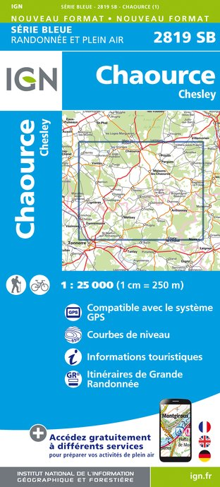 Carte IGN : 2819SB - Chaource / Chesley