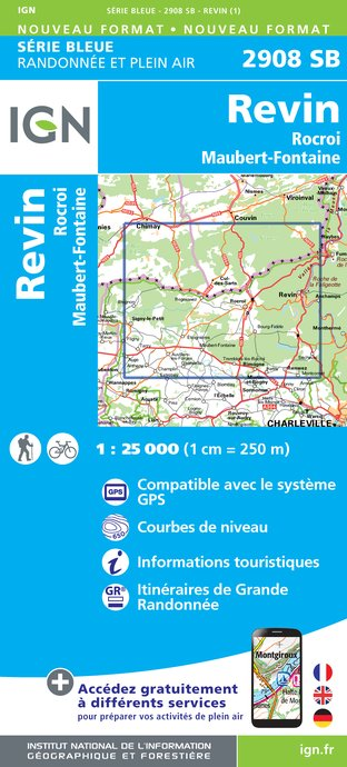 Carte IGN : 2908SB - Revin - Rocroi - Maubert-fontaine