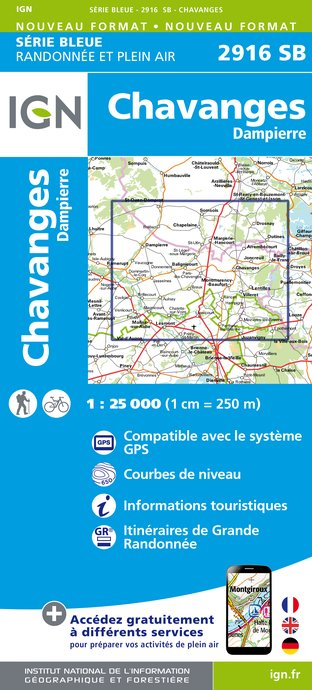 Carte IGN : 2916SB - Chavanges - Dampierre