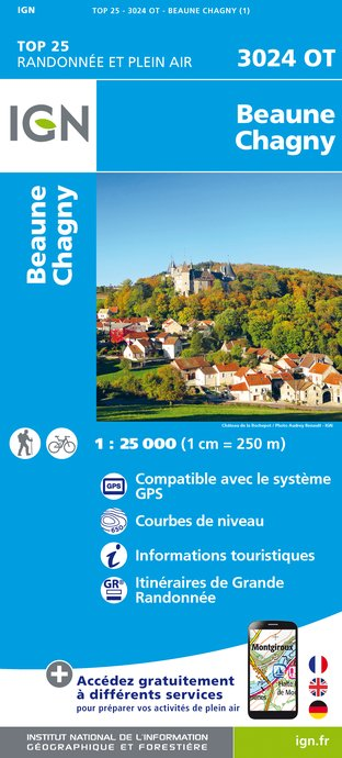 Carte IGN : 3024OT - Beaune - Chagny
