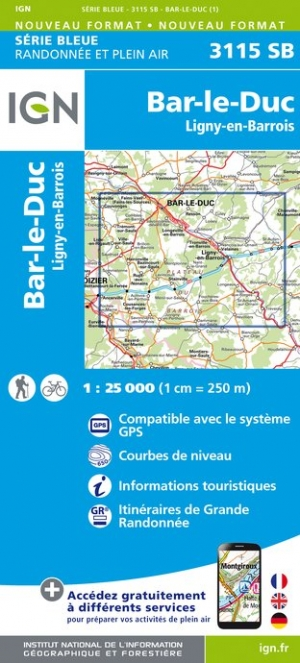 Carte IGN : 3115SB - Bar-Le-Duc / Lygny-En-Barrois