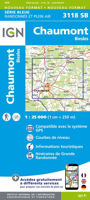 Carte IGN : 3118SB - Chaumont - Biesles