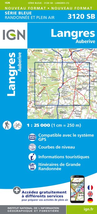 Carte IGN : 3120SB - Langres / Auberive