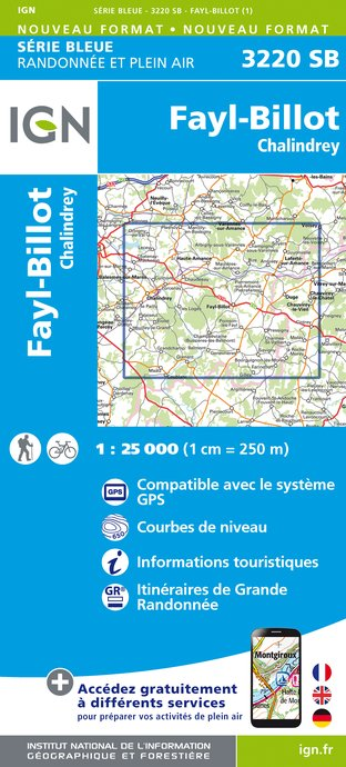 Carte IGN : 3220SB - FAYL-BILLOT / CHALINDREY