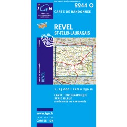 Carte IGN : 2244O - Rével - Saint-Felix-Lauragais (Gps)