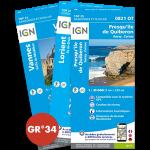 Pack : GR®34 de Cartes IGN 1:25.000 - 4/4 - 4e tronçon de Kerouini à Drézet