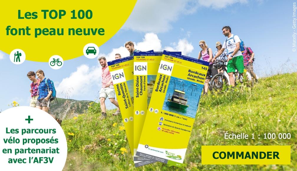 Nouvelles cartes IGN TOP 100 tourisme randonnée vélo