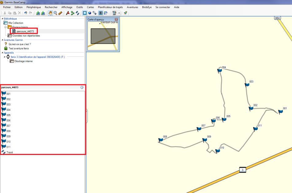 Exporter un parcours avec GPS Garmin