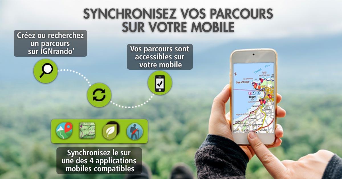 Synchroniser des parcours IGNrando' sur une application mobile compatible